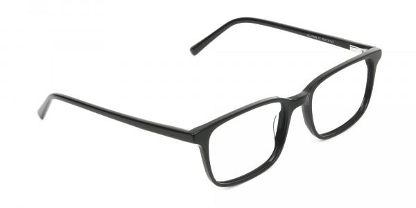 Horn Rimmed Black Eyeglasses in Rectangle - 2