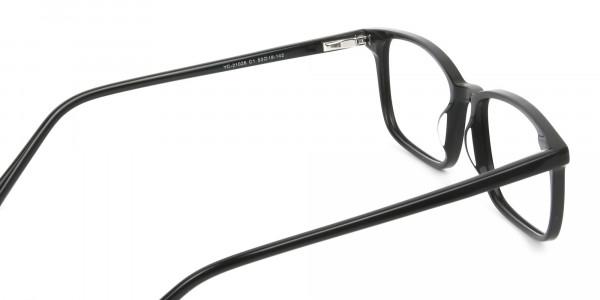 Horn Rimmed Black Eyeglasses in Rectangle - 5