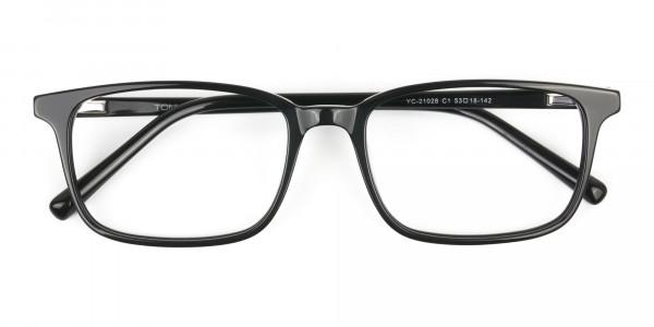 Horn Rimmed Black Eyeglasses in Rectangle - 6