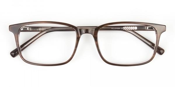 Hazel Brown Eyeglasses Rectangle & Acetate Frame - 6