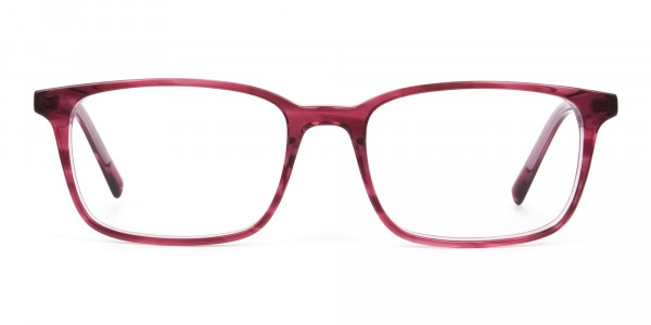 Cherry Red Eyeglasses in Horn-Rimmed Rectangle - 1