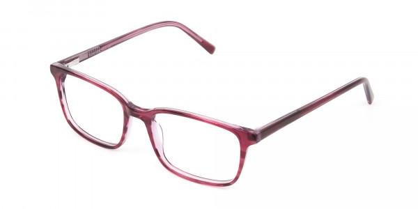 Cherry Red Eyeglasses in Horn-Rimmed Rectangle  - 3