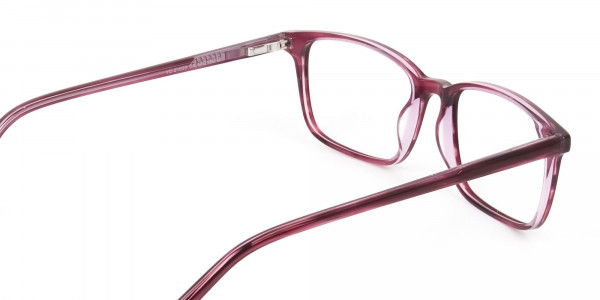 Cherry Red Eyeglasses in Horn-Rimmed Rectangle - 5