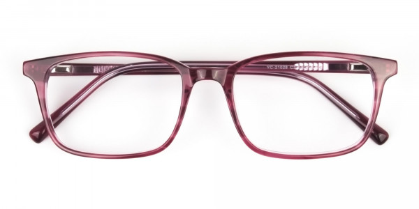 Cherry Red Eyeglasses in Horn-Rimmed Rectangle - 6