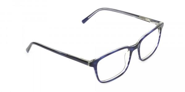 Horn-Rimmed Royal Blue Eyeglasses in Retangle - 2