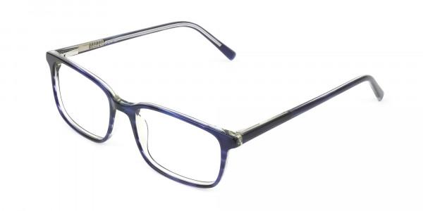 Horn-Rimmed Royal Blue Eyeglasses in Retangle - 3