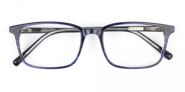 Horn-Rimmed Royal Blue Eyeglasses in Retangle - 6