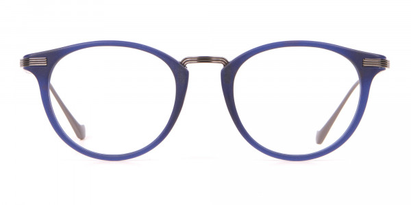 HACKETT HEB173 Bespoke Classic Round Glasses Navy Blue-1
