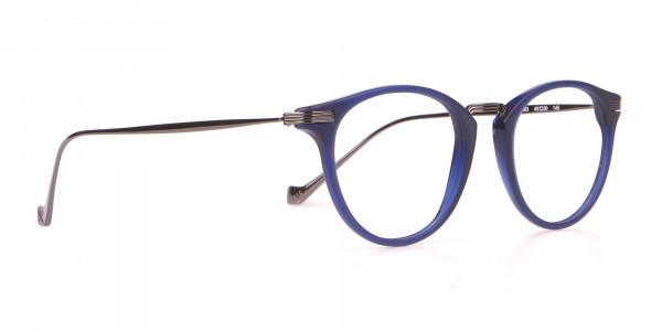 HACKETT HEB173 Bespoke Classic Round Glasses Navy Blue-2