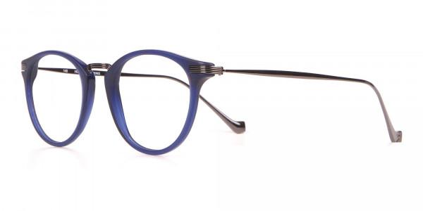 HACKETT HEB173 Bespoke Classic Round Glasses Navy Blue-3