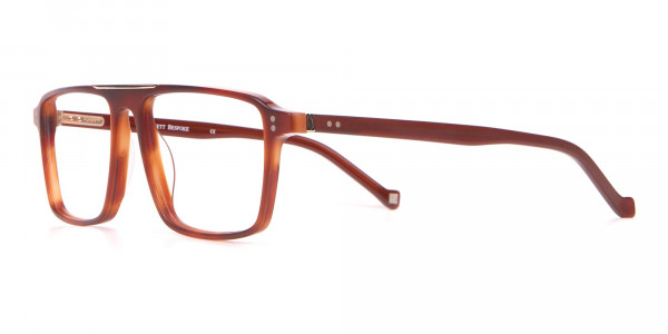 HACKETT HEB236 Wide Fit Rectangular Frame Brown Horn-3