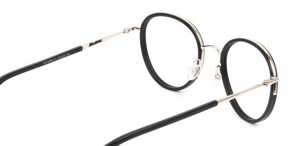 Retro Black & Silver Circular Glasses - 5