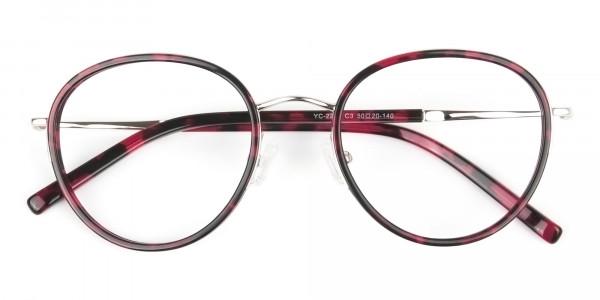 Retro Silver & Red Circular Glasses - 7