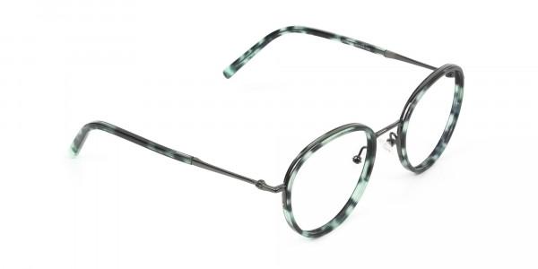 Gunmetal & Jade Green Glasses Frames - 2