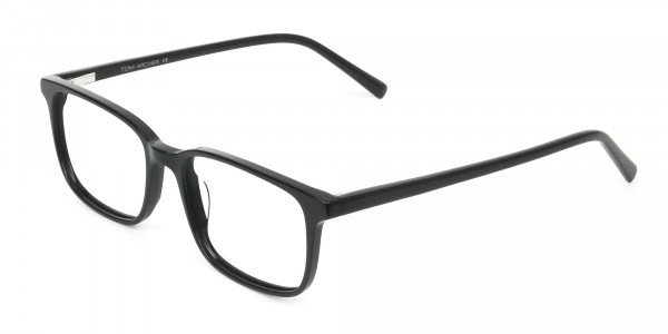 Horn Rimmed Black Eyeglasses in Rectangle - 3
