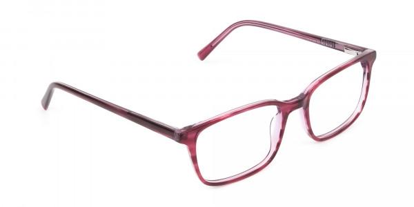 Cherry Red Eyeglasses in Horn-Rimmed Rectangle - 2