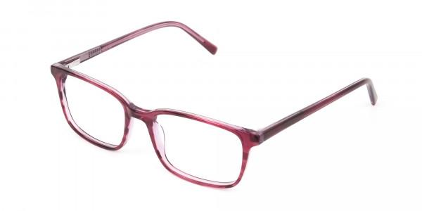 Cherry Red Eyeglasses in Horn-Rimmed Rectangle  - 3