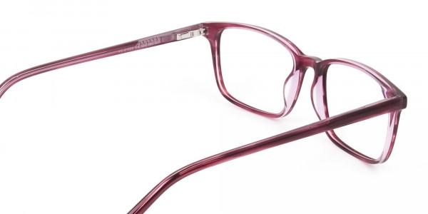 Cherry Red Eyeglasses in Horn-Rimmed Rectangle - 5