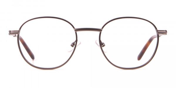 HACKETT HEB222 Metal Round Glasses Gunmetal & Tortoise-1