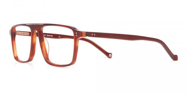 HACKETT HEB236 Wide Fit Rectangular Frame Brown Horn-3