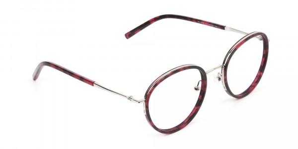 Retro Silver & Red Circular Glasses - 2