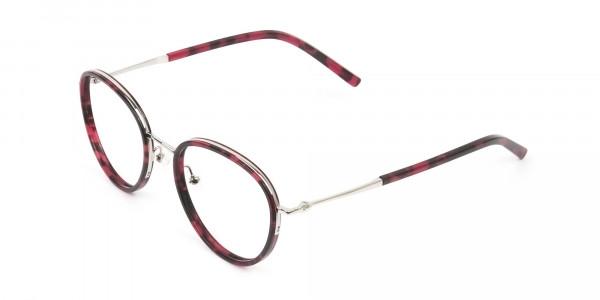 Retro Silver & Red Circular Glasses - 3
