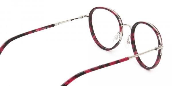 Retro Silver & Red Circular Glasses - 5