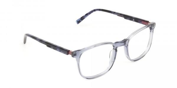 Large Translucent Ocean Blue Tortoise Square glasses - 2