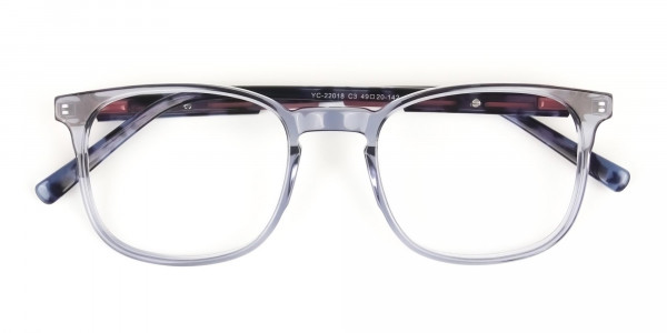 Large Translucent Ocean Blue Tortoise Square glasses - 6