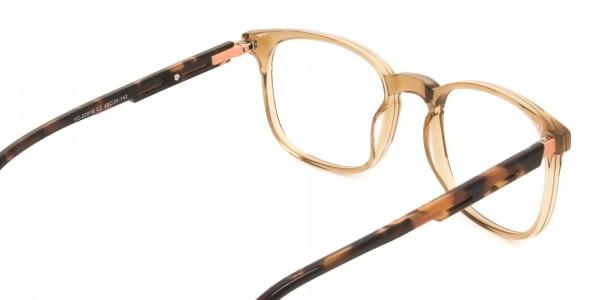 Translucent Brown Havana & Tortoise Large Square Tortoise Shell Glasses - 5