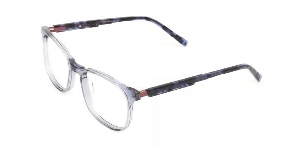 Large Translucent Ocean Blue Tortoise Square glasses - 3