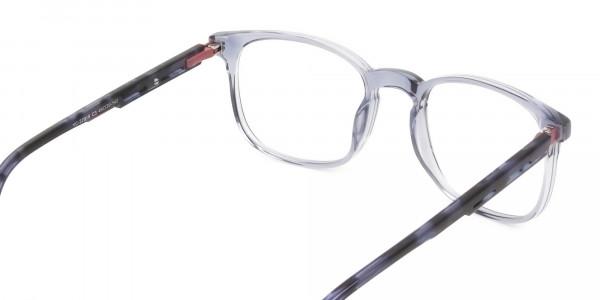 Large Translucent Ocean Blue Tortoise Square glasses - 5
