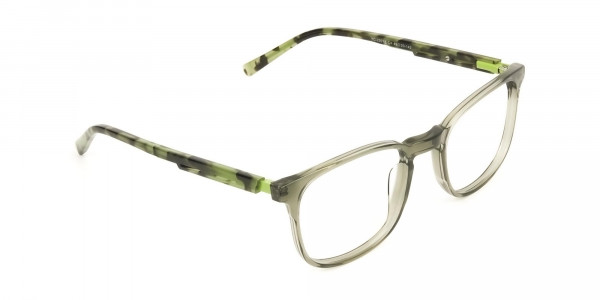 Translucent Camouflage & Olive Green Square Glasses - 2