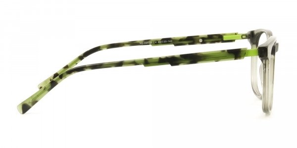 Translucent Camouflage & Olive Green Square Glasses - 4