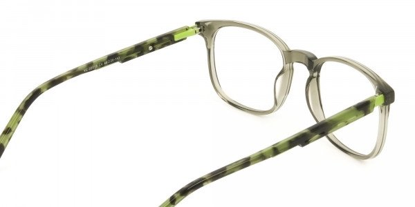 Translucent Camouflage & Olive Green Square Glasses - 5