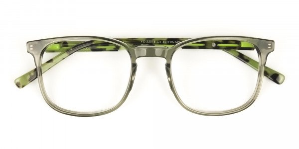 Translucent Camouflage & Olive Green Square Glasses - 6