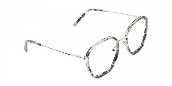 Octagon Glasses in Grey Lilac Tortoise with Silver Temple - 2