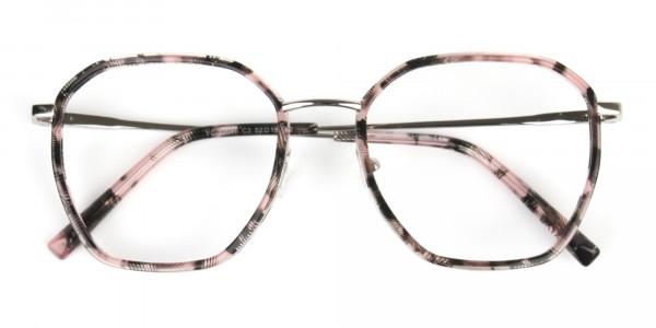 Geometric Octagon Nude Pink Tortoise Glasses - 7