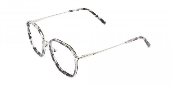 Octagon Glasses in Grey Lilac Tortoise with Silver Temple - 3