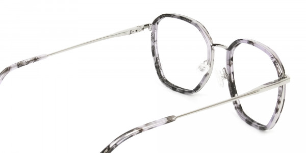 Octagon Glasses in Grey Lilac Tortoise with Silver Temple- 5