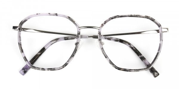 Octagon Glasses in Grey Lilac Tortoise with Silver Temple - 7