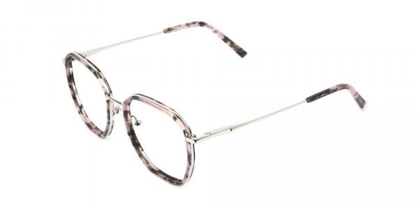 Geometric Octagon Nude Pink Tortoise Glasses - 3