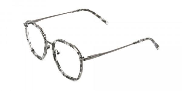 Gunmetal Grey Tortoiseshell Octagon Glasses - 3