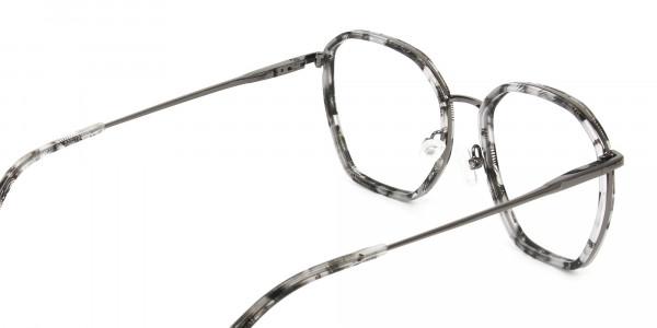 Gunmetal Grey Tortoiseshell Octagon Glasses - 5