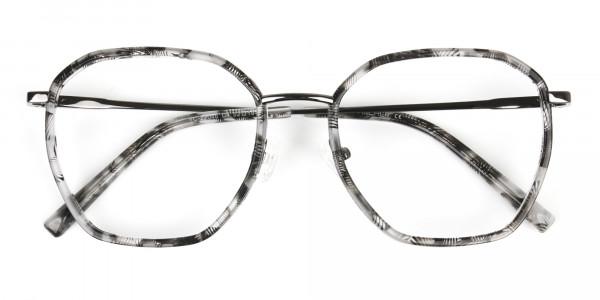 Gunmetal Grey Tortoiseshell Octagon Glasses - 7