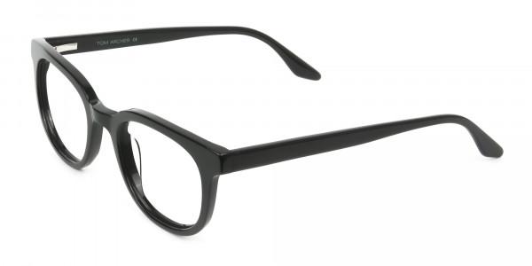 Black Vintage Horn Glasses in Wayfarer - 3