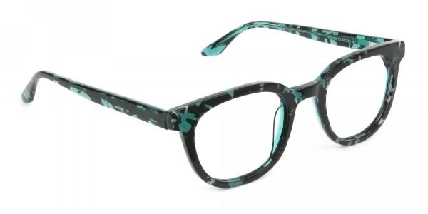 Hipster Tortoise Turquoise Green Wayfarer Frame Glasses - 2