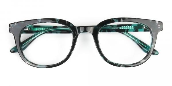 Hipster Tortoise Turquoise Green Wayfarer Frame Glasses - 7