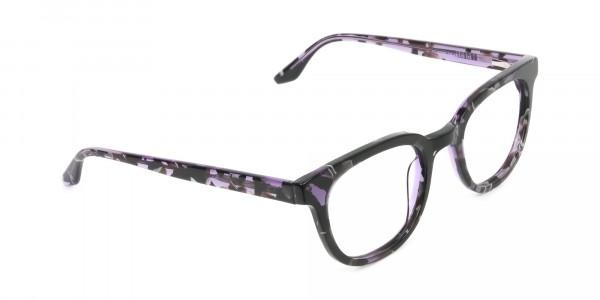 Hipster Thick Frame Tortoise Pastel Purple Glasses For Women - 2