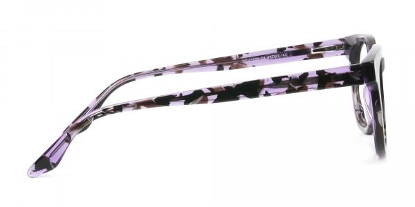 Hipster Thick Frame Tortoise Pastel Purple Glasses For Women - 4